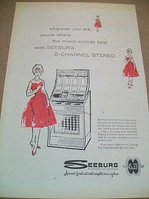 Seeburg 5 channel stereo phonograph 1960 Ad- wherever you are