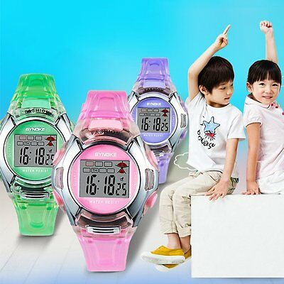 Child's Boy Girl Sports Bracelet Bangle LED Digital PU Band Quartz Wrist Watch