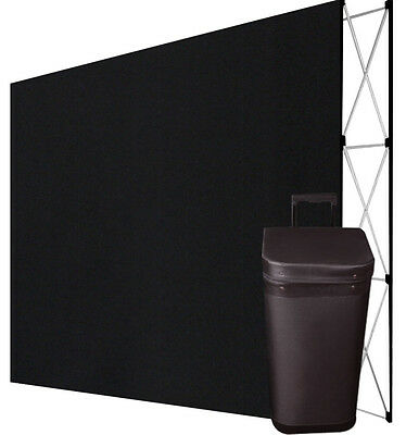 10 Ft Pop Up Trade Show Display Booth Floor Backdrop+Case - STRAIGHT, BLACK