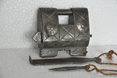 1930's Old Iron Unique Solid Heavy Handcrafted 2 Key Tricky System Padlock
