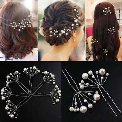 6x Wedding Bridal Pearl Hair Pins Clip Comb Bride Jewelry Accessories Silver