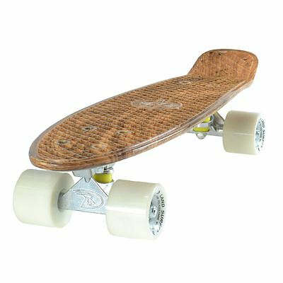 Cruiser Skateboard 22 Inch Wood Effect Board Solid White Wheels