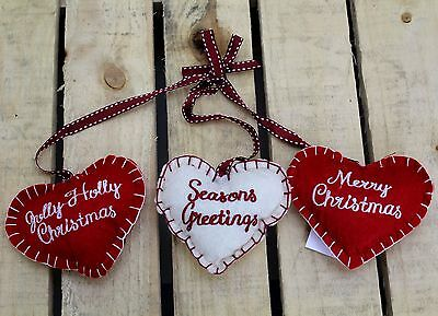 Triple Felt Fabric Hanging Hearts Christmas Decoration