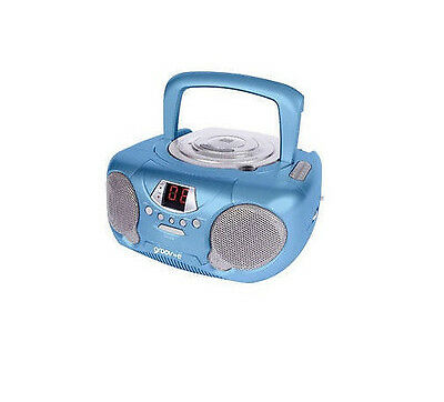 Groov-e GV-PS713 Portable CD Player Radio Boombox Aux Input LED Display Blue New