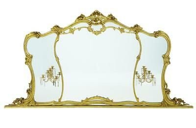 Large Early 20Th Century Rococo Influenced Gilt Overmantle Mirror