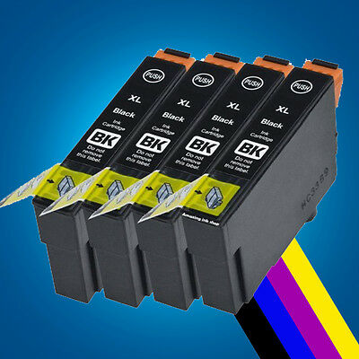 4 Black Ink Cartridges for Epson Expression XP-235 XP-332 XP-335 XP-432 XP-435 P