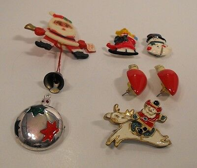 Assorted Lot Christmas Costume Jewelry  Button Covers Pins Earrings