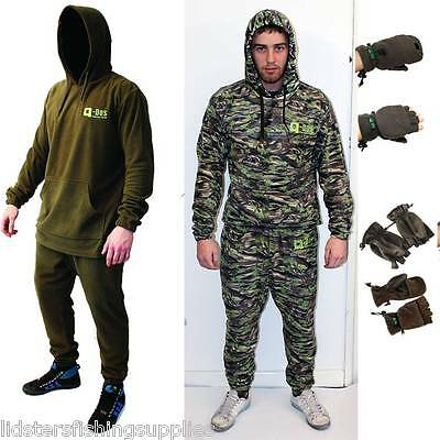 Carp Fishing Q Dos Fleece Camo Or Green Jacket + Trousers Suit Clothing + Gloves