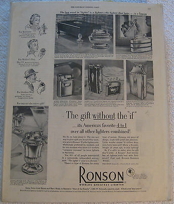 VINTAGE Magazine PAPER Ad RONSON Lighters + TOTE LITE with SLEEVE and CARDBOARD