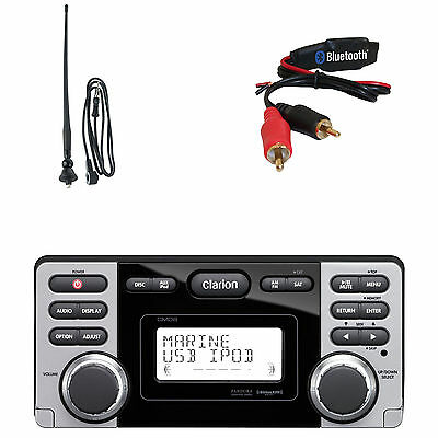 """Clarion CMD8 1.8"""" Marine Boat CD USB MP3 Receiver, Bluetooth Dongle, Antenna"""