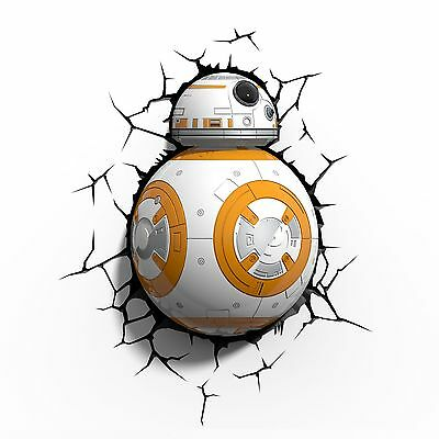 Star Wars Bb-8 3D Led Wall Light Night Lamp With Crack Stickers
