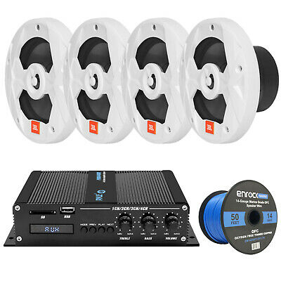 "Silver 600W Marine Bluetooth 2 Channel Amplifier, 6.5"" JBL 150W Speakers/ Wires"