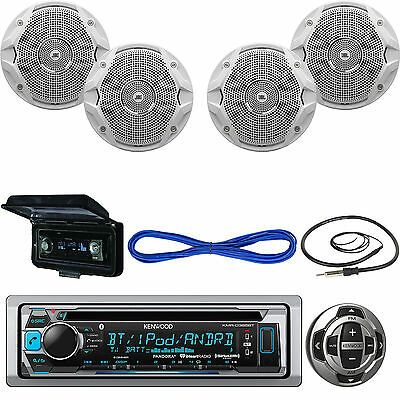 """Kenwood Bluetooth CD USB Boat Radio,6.5"""" JBL Speakers/Wires,Remote,Antenna,Cover"""