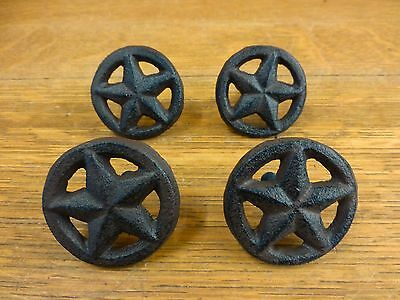 4 BROWN RUSTIC STAR DRAWER DOOR PULLS KNOBS CAST IRON CABINET HARDWARE western