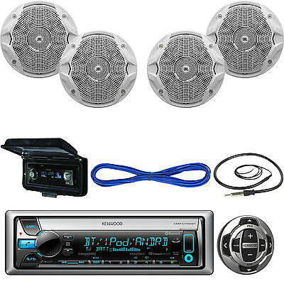 """Kenwood In-Dash Receiver, Wired Remote, 2X 6.5"""" Speakers, Wire, Antenna, Cover"""