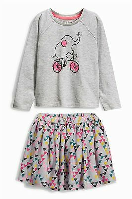 BNWT Next Girls Elephant Top and patterned lined Skirt Set GORGEOUS 4-5 yrs