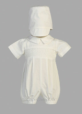 Baby Boys White Smocked Cotton 2 Pc Set Romper Suit Hat Christening Baptism New