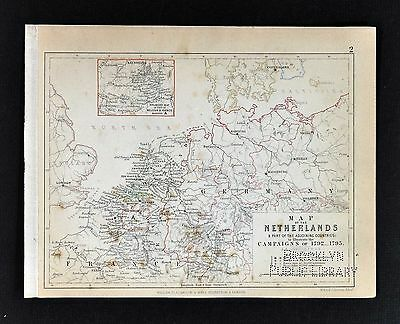 1850 Johnston Military Map - Napoleon Campaigns 1792 Netherlands Holland Belgium