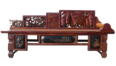Chinese Vintage Fujian Scenery Carving Daybed Couch Chaise cs1154