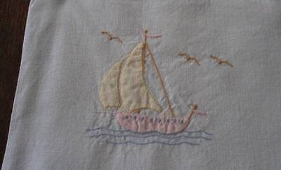 Vintage Nautical Baby Pillow Case Sham Embroidered Sailboats