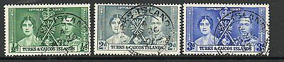 Turks & Caicos Islands 1937 Coronation fine used set stamps