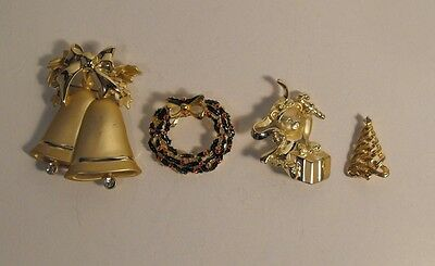 4 Piece Lot Goldtone  Christmas  Brooches - Pins   Bells Tree Wreath Gift
