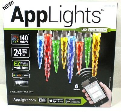 Gemmy AppLights 24 Light Multi-Color Icicle String Light Set iPhone Android