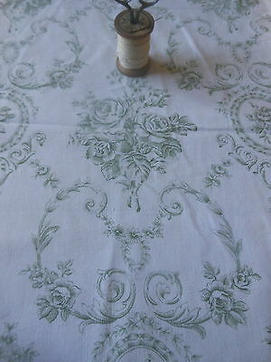 Antique Vtg French Sage Green Shabby Cottage Cameo Roses Scroll Cotton Fabric