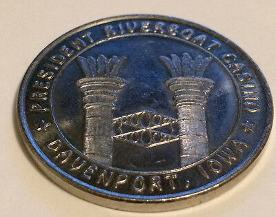 Rare 1991 $0.50 Metal Slot Token Chip President Riverboat Casino Davenport (#1)