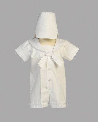 New Baby Boys White Nautical Sailor Romper Suit Outfit Christening Baptism Owen