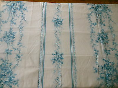 Vintage French Shabby Romantic Cottage Blue White Garland Roses Cotton Fabric ~