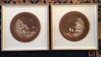 Antique Vintage Chinese Abalone MOP Mother Of Pearl Inlaid Inset Plates Framed
