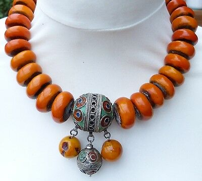 Traditional style Moroccan resin amber necklace with enamel pendant