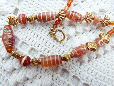 Ancient Pyu Etched Carnelian Necklace; Plus One Spare Bead