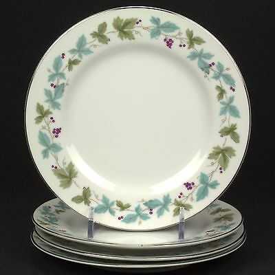 Fine China of Japan Vintage 4 Bread Plates 6701 Leaves Grapes FLAWS