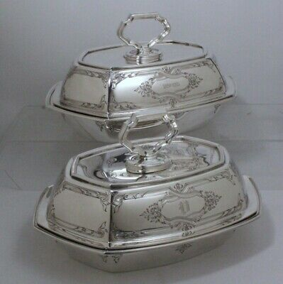 Antique Victorian Sterling Silver Covered Vegetable Bowls Pair Matthews & Prior