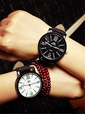 Stainless Steel Dail Leather Band Analog Quartz Sport Wrist Watch for Women Men