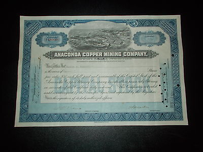 Aktie Stock Cerrtificate Anaconda Copper Mining Company 1930 blue