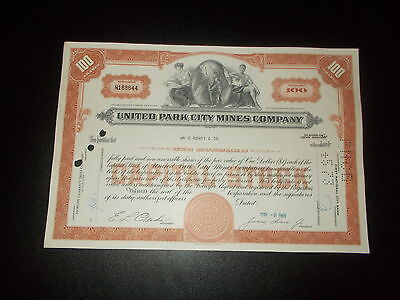 Aktie Stock Cerrtificate United Park City Mines Company 1968