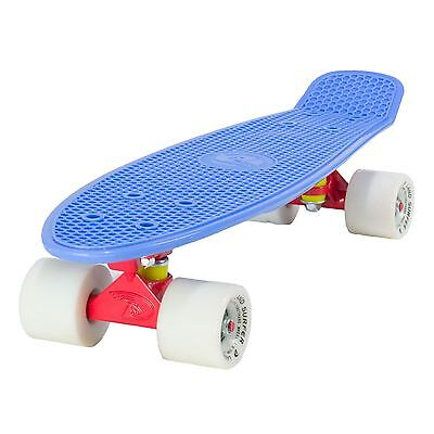 "Land Surfer Cruiser Skateboard 22"" BLUE BOARD RED TRUCKS WHITE WHEELS"