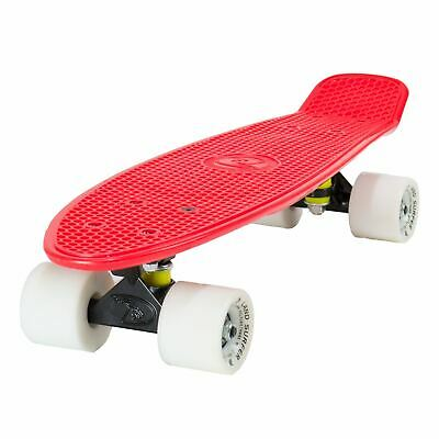 "Land Surfer Cruiser Skateboard 22"" RED BOARD BLACK TRUCKS WHITE WHEELS"