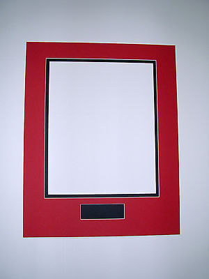 Picture Frame Double Mat 11x14 for 8x10 photo Red and black 1x3 nameplate hole
