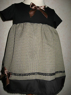 New Girls Black brown Green Tweed Check Lace Dress Headband set Goth Party Gift