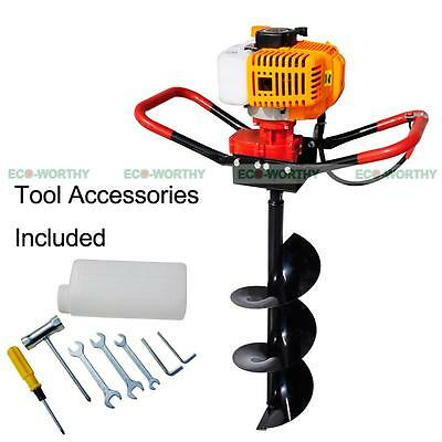 """New 2.2 HP Gas Powered Post Hole Digger W/ 8"""" Auger Drill Bit 49CC Power Engine"""