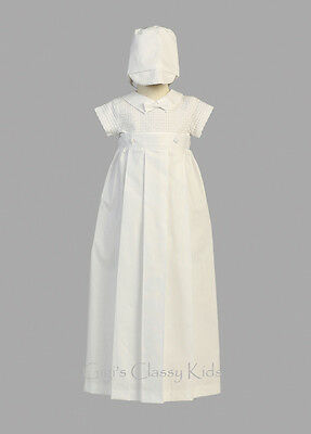 New Baby Boys White Cotton Romper Set W Removable Gown Christening Baptism Mason
