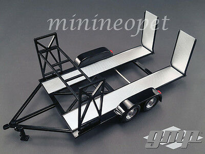 GMP 18820 TANDEM CAR TRAILER CARRIER with TIRE RACK FOR 1/18 DIECAST CAR BLACK