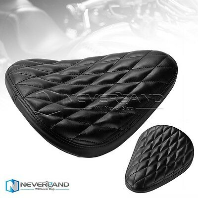 Black Leather Diamond Solo Spring Seat For Harley Sportster XL883 Chopper Bobber