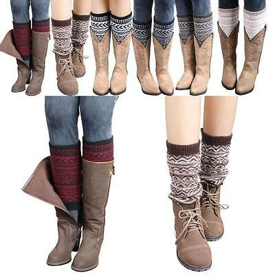 Women Winter Leg Warmers Knitted Crochet Long Socks Winter Warmmer Leg Socks