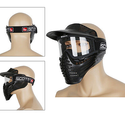 Airsoft Paintball Motorcycle Full Face Mask&Goggles Cycling Tactical Gear Black