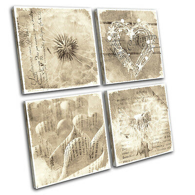 Shabby Chic Floral Type Vintage MULTI CANVAS WALL ART Picture Print